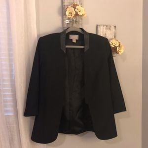 Black Cropped Sleeve, Faux Leather Collared Blazer